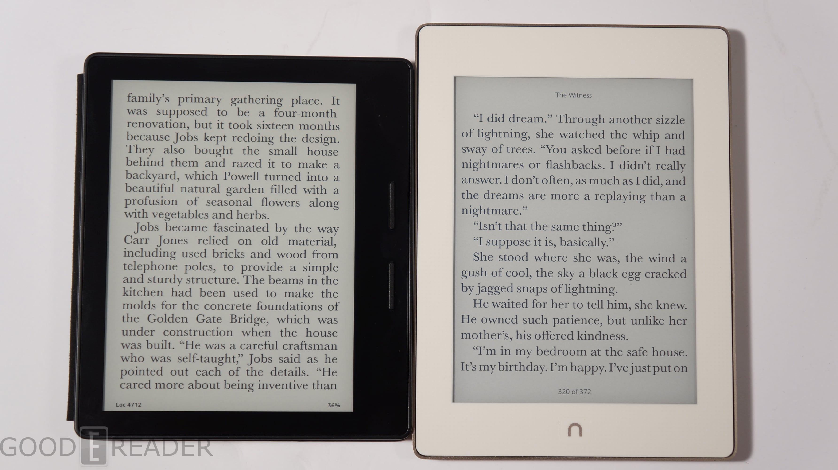 Barnes and Noble Nook Glowlight Plus vs Kindle Oasis