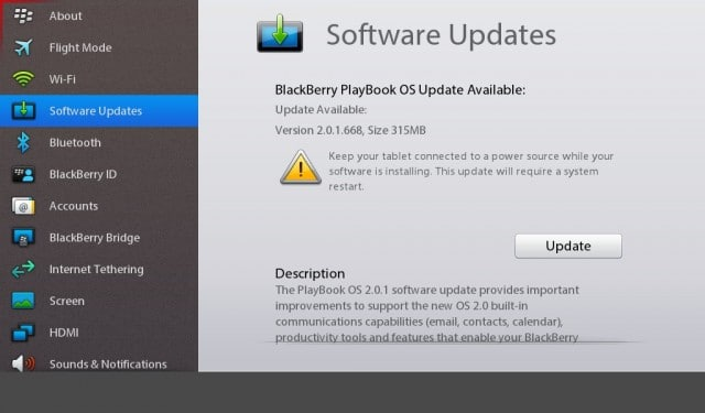 blackberry playbook software update 2.0.1.358