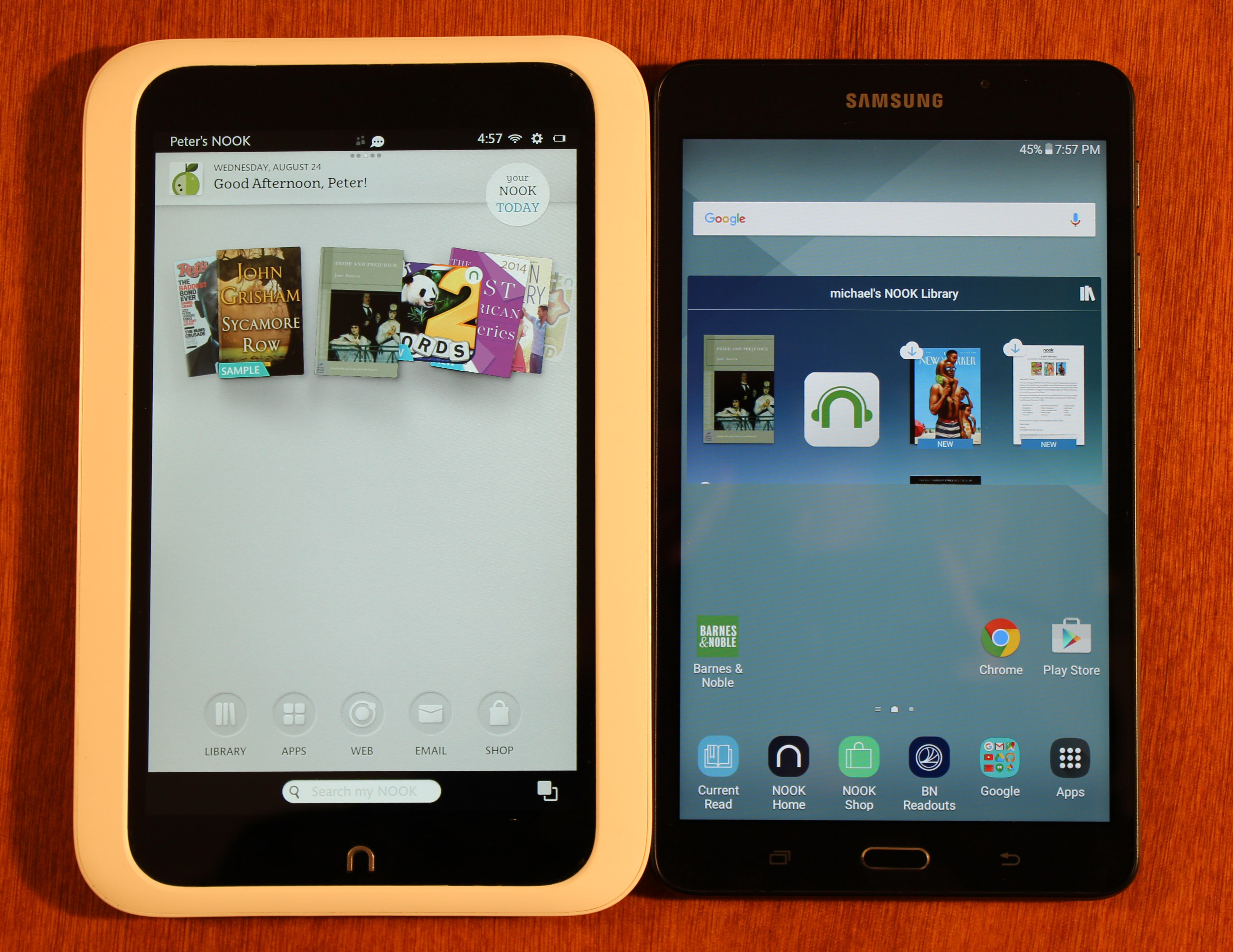 nook hd and samsung galaxy tab a nook