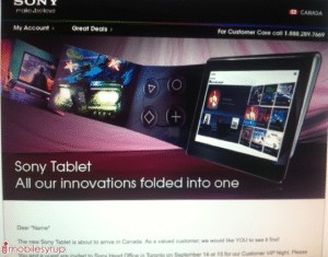 Sony Tablet S may be launched in Canada on Sep 14 – 15
