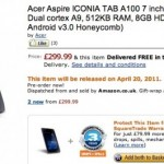 Acer Aspire ICONIA TAB A100 up for pre-order on Amazon UK for £299.99