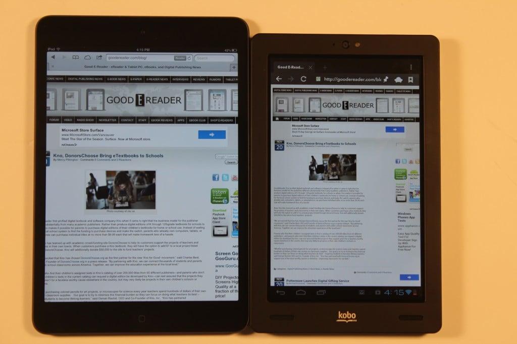 Kindle Vs Sony Reader: Kobo Arc VS The Apple IPad Mini