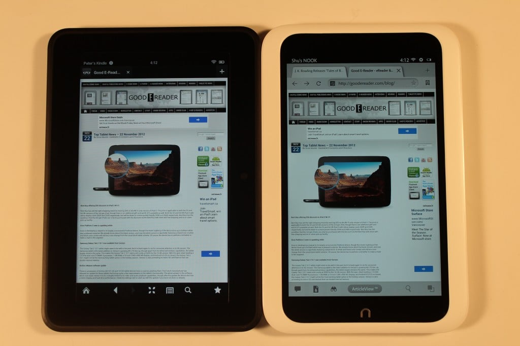 Noble Color Nook vs Kindle Fire Amazon