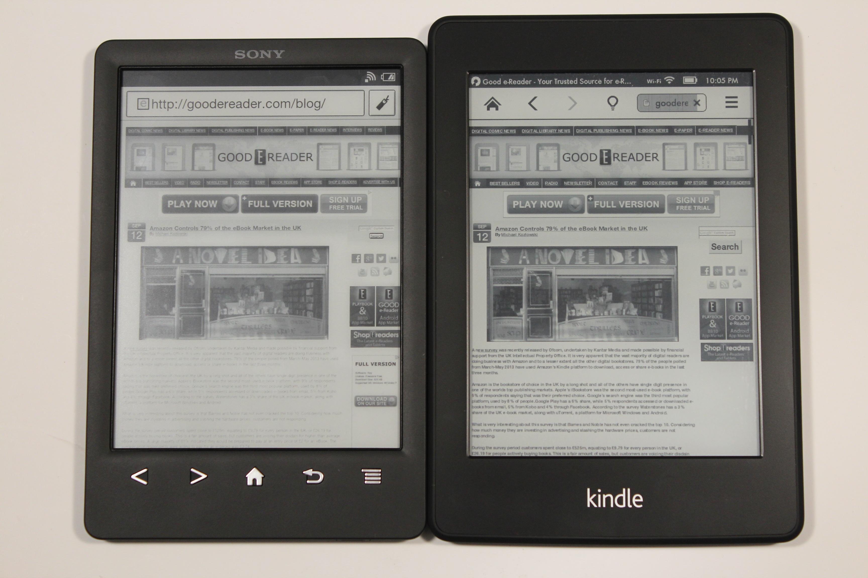 Kindle Vs Sony Reader: Sony PRS-T3 Vs Amazon Kindle Paperwhite