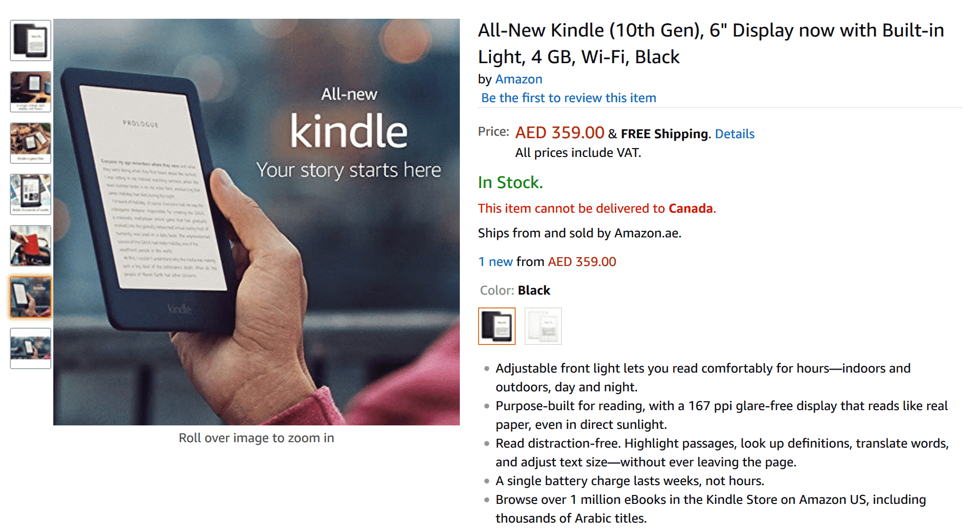 Amazon is now directly selling the Kindle in the UAE