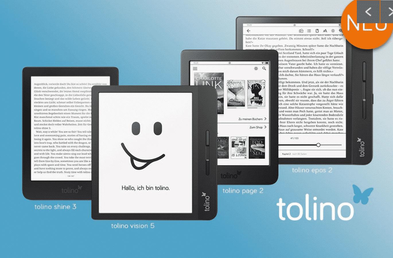 Tolino Page 2, Tolino Vision 5 and Epos 2 are three new e-readers