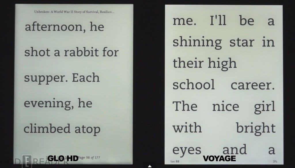 Kindle Voyage and Kobo Glo HD Nighttime Reading Test