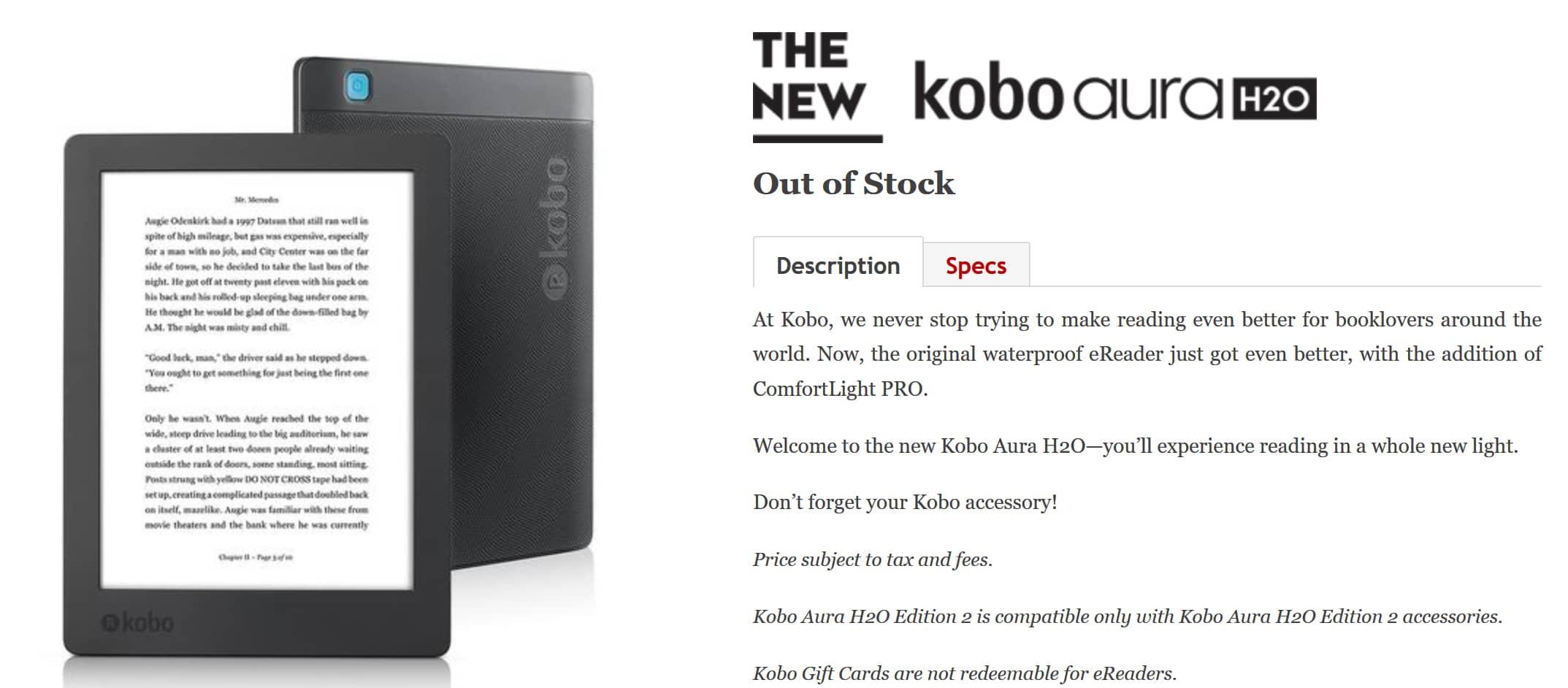 Did kobo discontinue the aura h2o edition 2 for Housse kobo aura h2o edition 2