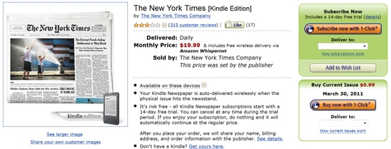 Amazon Kindle users can access the NY Times website for FREE!