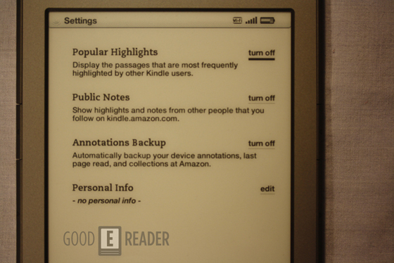 new kindle menu