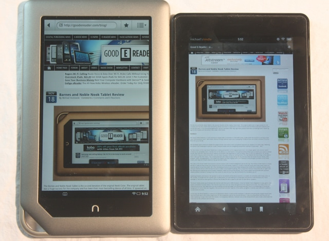 nook tablet and Kindle fire