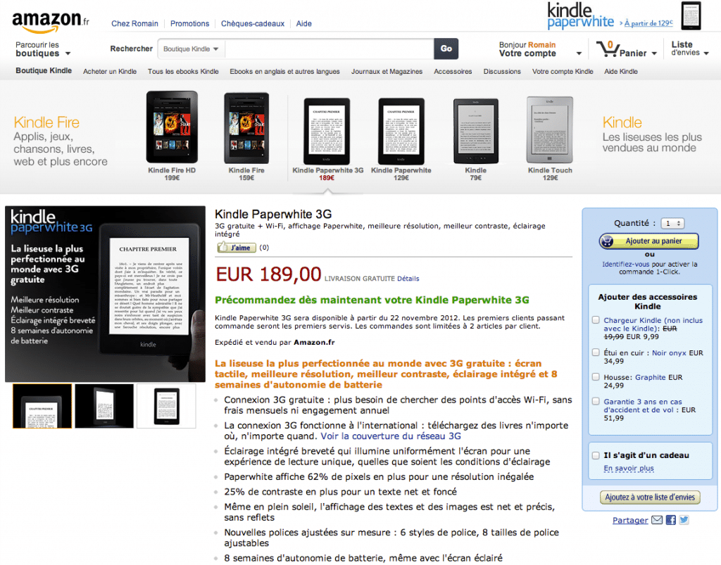 kindle paperwhite europe