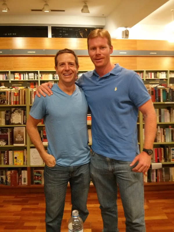 Hugh Howey posed with Hugh Howey...or is it Data Guy?