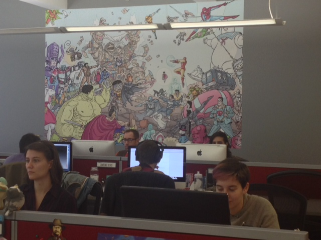 The ComiXology office, with its giant comics mural.