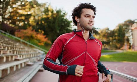Man running while listening to music