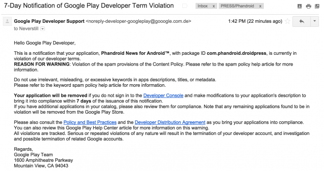 Google Play Developers Receive Fake Terms Violation Email