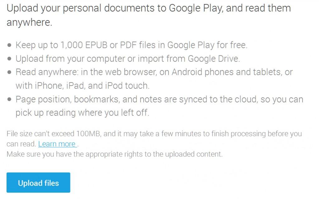 google play books upload