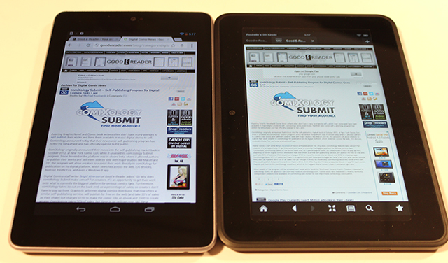 kindle fire hd7 vs google nexus