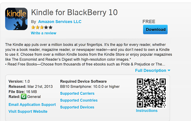 kindle for bb10