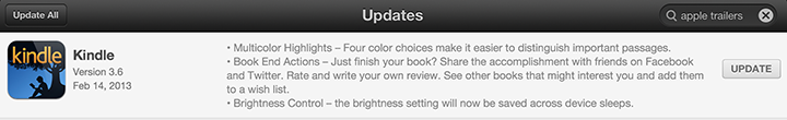kindle ios update